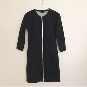 Kate Spade Saturday black dress white exposed zip